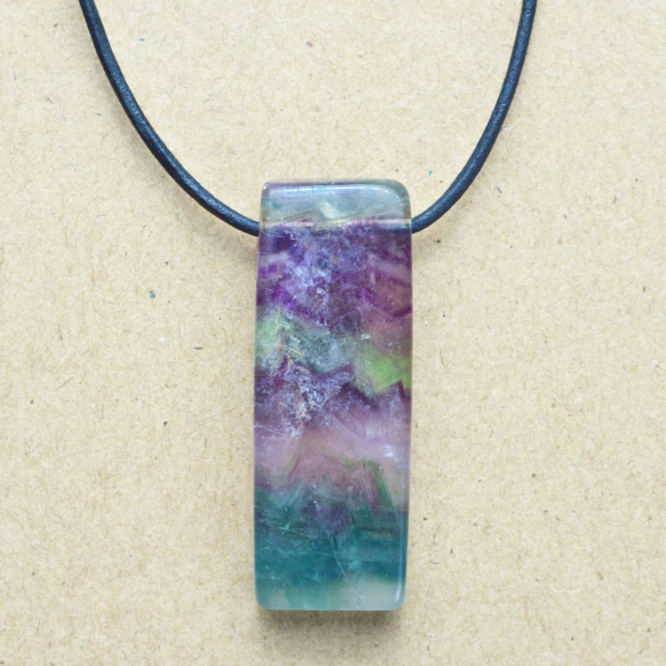 Fluorite Double Sided Thin Rectangle Pendant