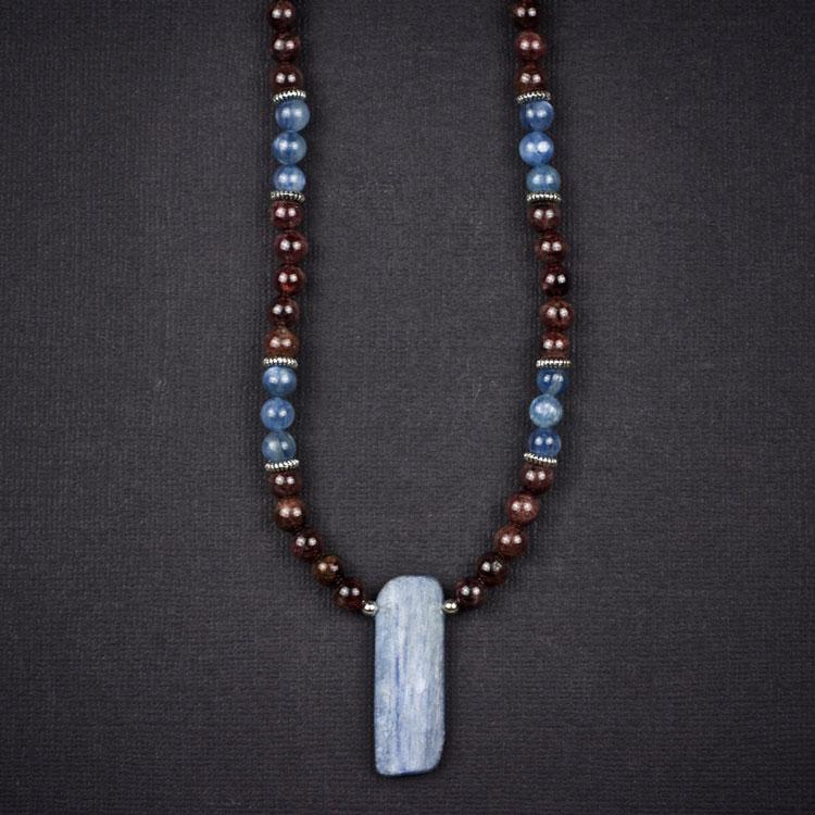 Blue Kyanite and Garnet Necklace