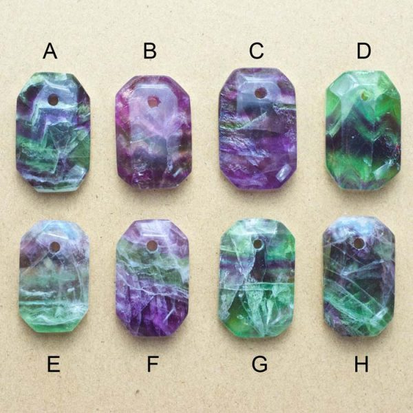 Faceted Fluorite Double Sided Pendants