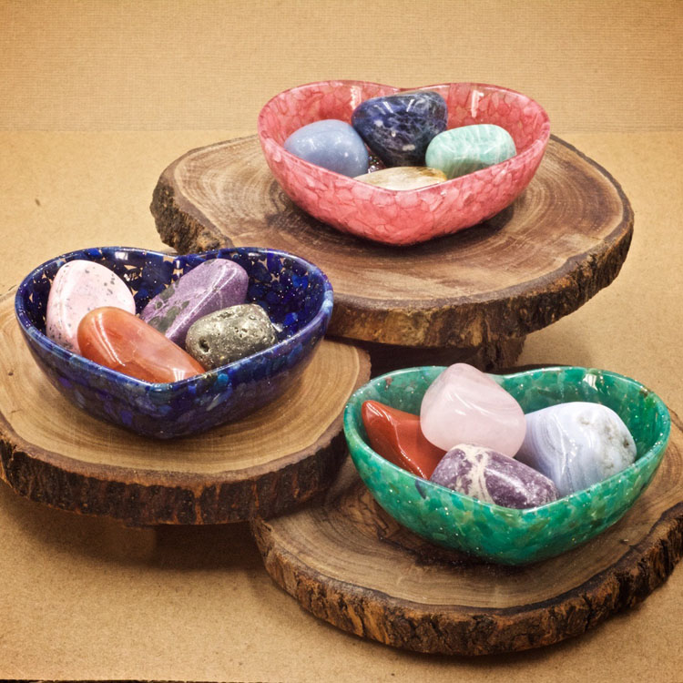 Mini Crystal Heart Bowls from Healing Stones for You