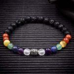7 Chakra Crystal Lava Rock Bracelet