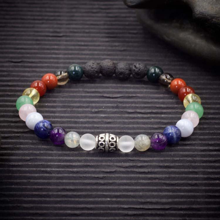 12 Chakra Lava Rock Bracelet