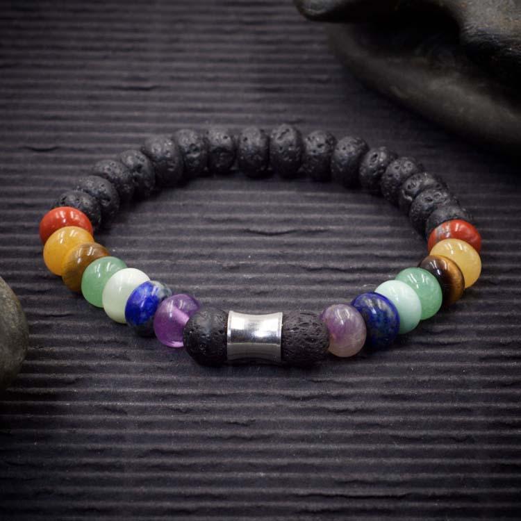 7 Chakra Crystal Lava Rock Rondelle Bracelet