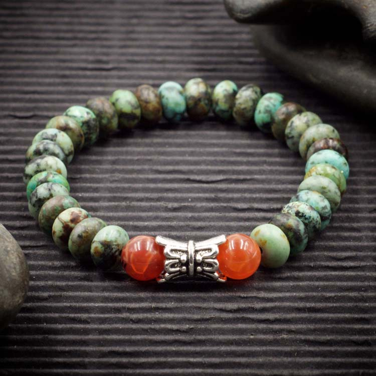 African Turquoise and Fire Agate Bracelet