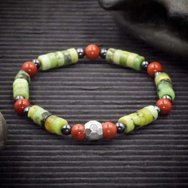 Chrysoprase Red Jasper and Hematite Bracelet