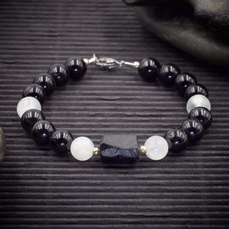 Black Tourmaline and Selenite Bracelet