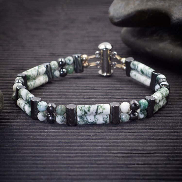 Tree Agate Double Power Bracelet