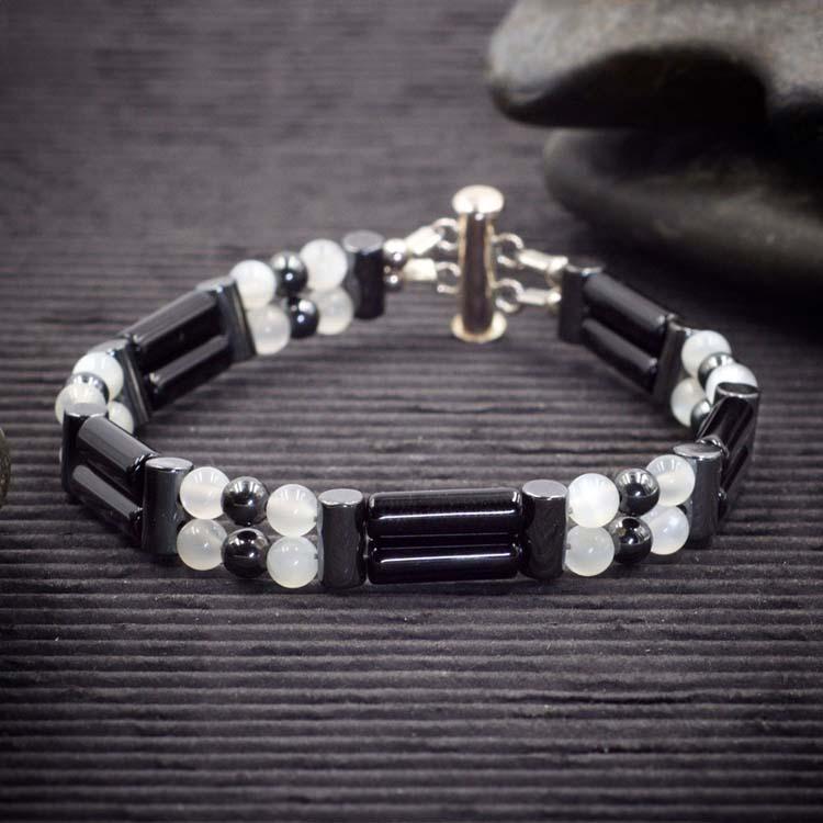 Onyx and Moonstone Double Power Bracelet