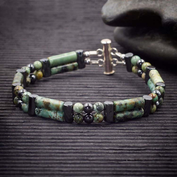 African Turquoise Double Power Bracelet