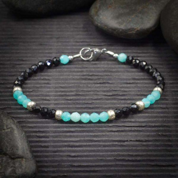 Black Tourmaline and Amazonite Mini Faceted Crystal Bracelet