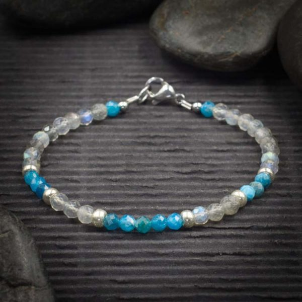Labradorite and Apatite Mini Faceted Crystal Bracelet