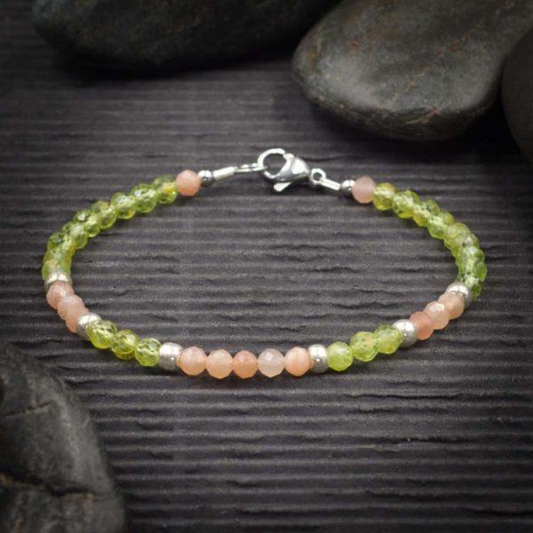 Peridot and Sunstone Mini Faceted Crystal Bracelet