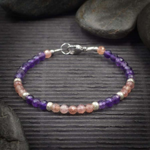 Amethyst and Strawberry Quartz Mini Faceted Crystal Bracelet