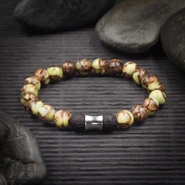 Bronzite and Peridot Aromatherapy Bracelet